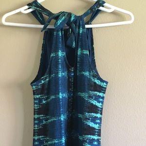 Athleta Dresses - Athleta blue green halter summer maxi dress